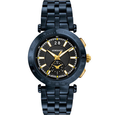 Versace VAH05 0016 V-Race Sport dark blue Stainless Steel Men's Watch NEW