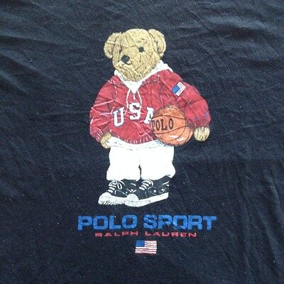 Vintage Polo Bear Ralph Lauren T Shirt Polo Sport Stadium P Wing Snow Beach 1992