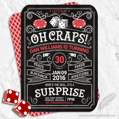 Casino Birthday Party Invitations / Poker Craps Roulette Blackjack Dice Adult  (Casino Invites)