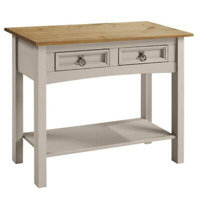Corona Grey Console Table 2 Drawer Wax Solid Pine Hall by Mercers Furniture®