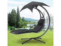 Garden Swing Hammock Helicopter Hanging Chair Seat Sun Lounger Outdoor W/Cushion