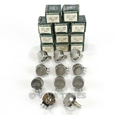 Nos Nib Vintage Lot Of 11 Clarostat 53c3 S-taper Potentiometers 100k Ohm