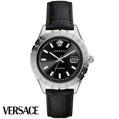 Versace VZI010017 Hellenyium Automatic silver black Leather Men's Watch NEW