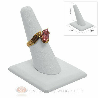 Single Finger Ring Display White Leather Jewelry Showcase Presentation