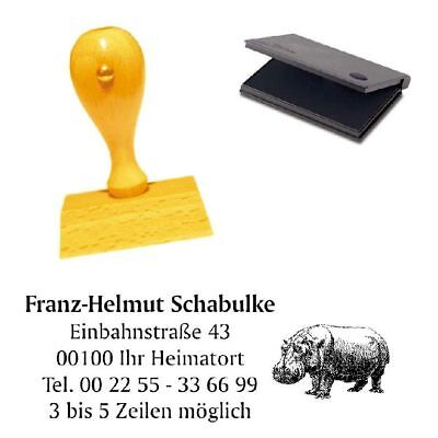 Adressenstempel « NILPFERD » mit Kissen - Zoo Tierpark Naturschutz Hippo