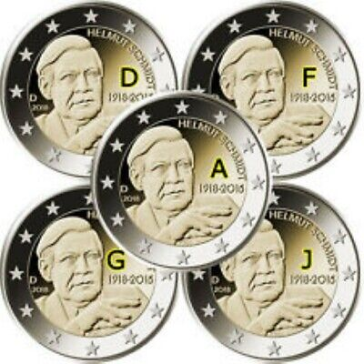 Duitsland  2018  5 x 2 euro com. ADFGJ  Helmut Schmidt    UNC  !!