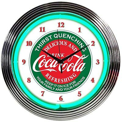 "Coca Cola Evergreen Neon clock sign Coke Fully Licensed 15"" wall lamp art  New"