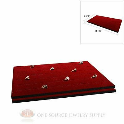 2 Burgundy Ring Display Pad Holds 72 Slot Rings Tray or Case Jewelry Insert