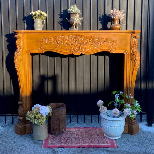 Huge Gorgeous Louis XV Carved Wood Fireplace Mantel Surround