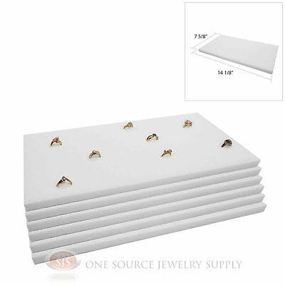 6 White Ring Display Pads Holds 72 Slot Rings Tray Or Case Jewelry Insert