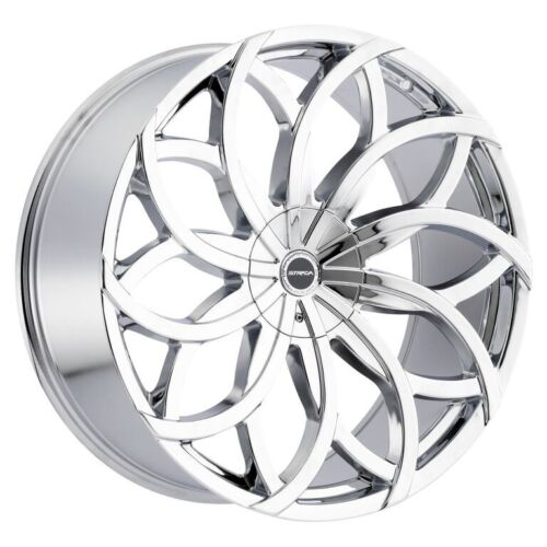 26 Inch Huracan Chrome Wheels & Tires Fit 6 X 139 Silverado, Avalanche, Tahoe