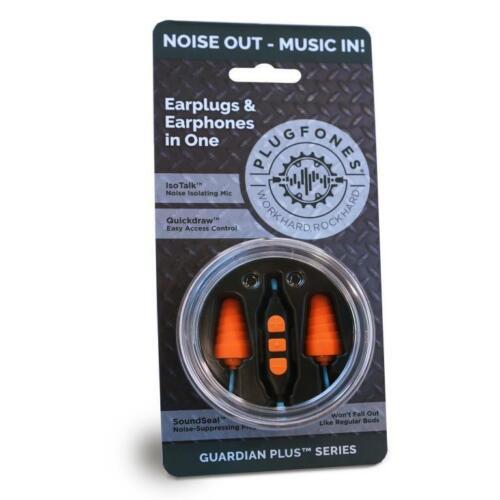 Plugfones Guardian Plus Earplug Headphones with Mic light blue / orange