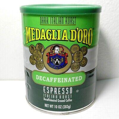 Medaglia D'Oro Espresso Decaffeinated Italian Dark Roast Ground Coffee Cafe 10oz Espresso Roast Ground