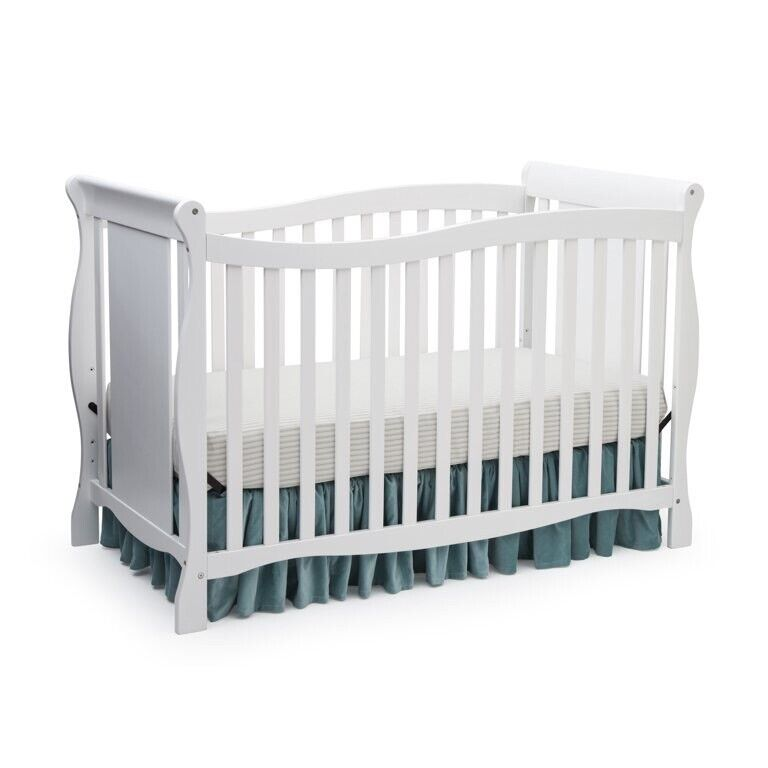 Baby Toddler 4-in-1 Convertible Crib Nursery Furniture Sleeping Bed White, New