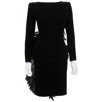 OSCAR DE LA RENTA A/W 1987 Black Velvet Coq Feather Bustle Cocktail Dress Size S