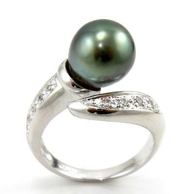 10 Mm Pearl Ring - 9-10mm Tahitian Black Pearl 4.25g 925 Sterling Silver Ring