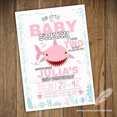 Pink Baby Shark Birthday Party Invitations / Printed Set of 10