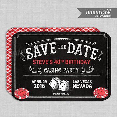 Casino Save The Date Birthday Party Invitations / Craps Poker Roulette Blackjack (Casino Invites)