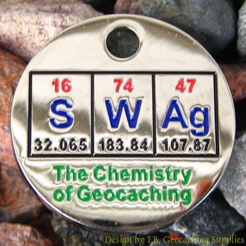 Lot of 20 PathTags - SWAg - The Chemistry of Geocaching (Nickel finish)