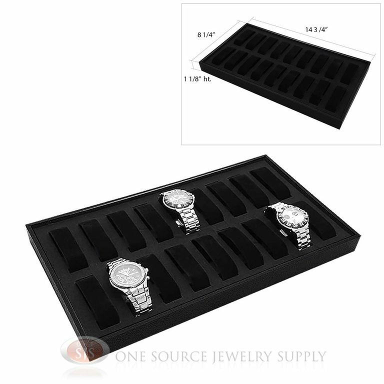 Black Wooden Presentation Display Storage Watch Tray  w/ 18 Removable Holders