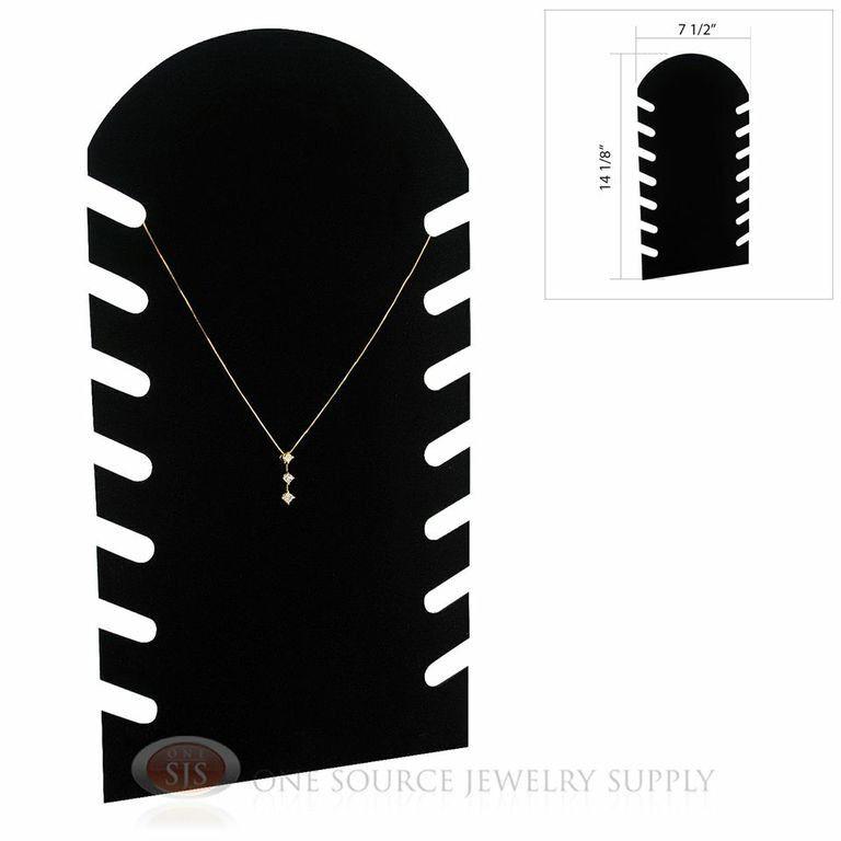 "14 1/8"" Black Velvet Flocked Pendant Jewelry Necklace Display Easel Presentation"