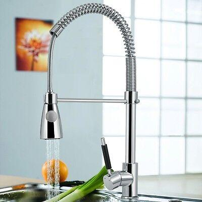 Modern Chrome Pull-Down Sprayer Kitchen Sink Mixer Pull Out Spray Tap Swivel
