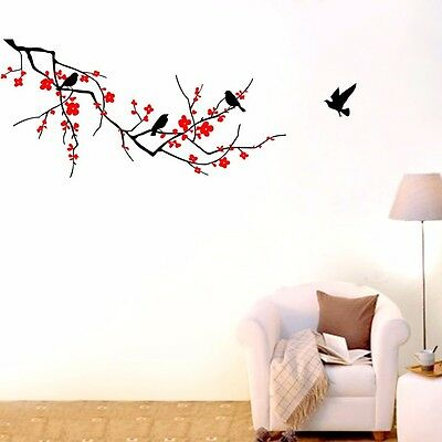 Home Decoration - Large Branch Flower Birds Wall Decor Vinyl Decal Home Sticker Removable DIY