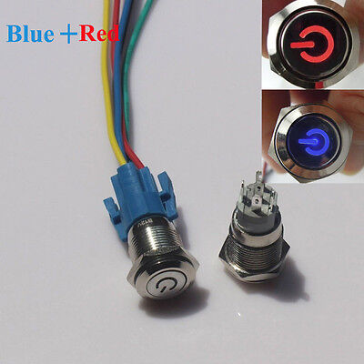 Redblue Led 16mm 12v Car Metal Push Button Toggle Switch With Socket Sale