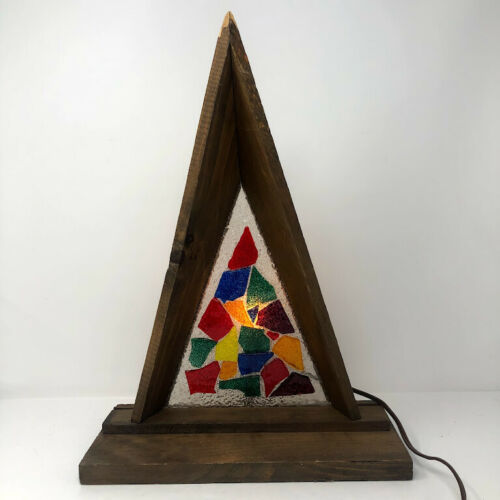 Mid Century Modern Christmas Wood Stained Glass Nativity Stable Creche Vintage