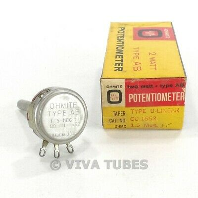 Nos Nib Vintage Ohmite Cu-1552 Type Ab Potentiometer 2w 1.5 Meg Ohm