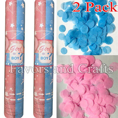 Gender Reveal Confetti Cannon Shooter Girl Pink Boy Blue Baby Party Popper x2](Pink Confetti)