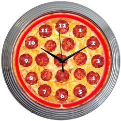 Neon Clock sign Pizza Kitchen Italian restaurant  wall lamp Bar beer snack gift