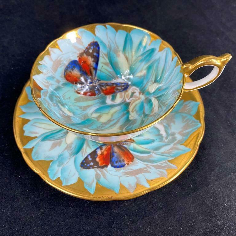STUNNING - Aynsley CHRYSANTHEMUM BUTTERFLY Heavy Gold Cup Saucer C974/1