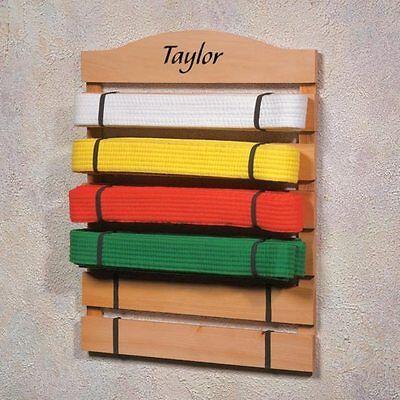 PERSONALIZED Martial Arts Belt Display Rack Wooden Belt Holder Taekwondo Karate