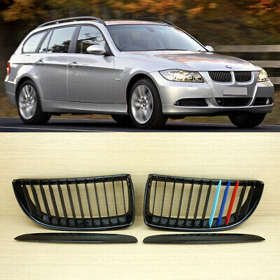 - M-color BMW E90/E91 4DR Sedan Glossy Black Front Grille Grills 05-08 + USB Cable