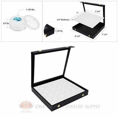 White 25 Gem Jar Insert W Snap Acrylic Display Case Gemstone Storage Jewelry