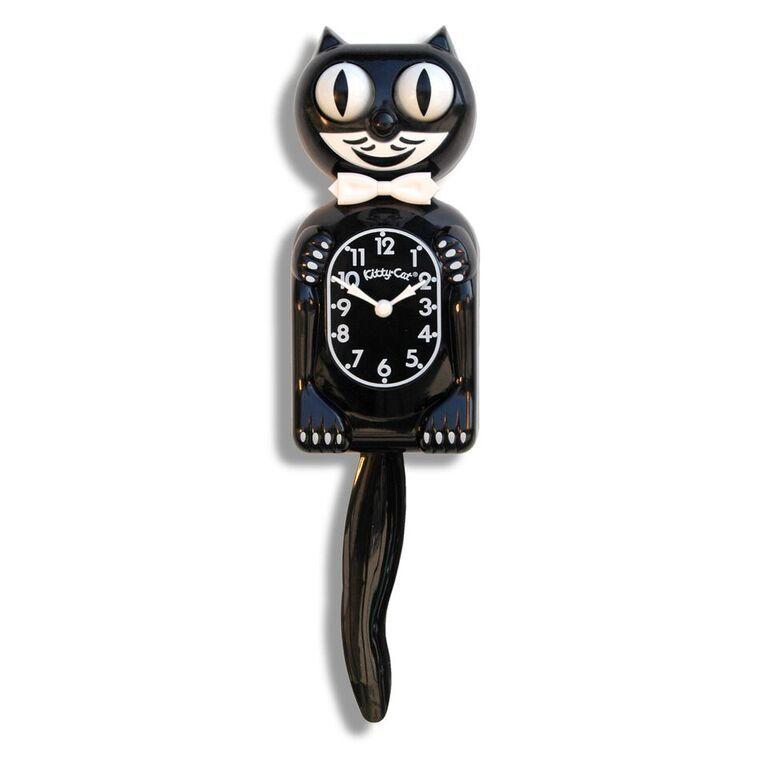Classic  KIT KAT CLOCK - BLACK KITTY CAT CLOCK -  MADE IN TH