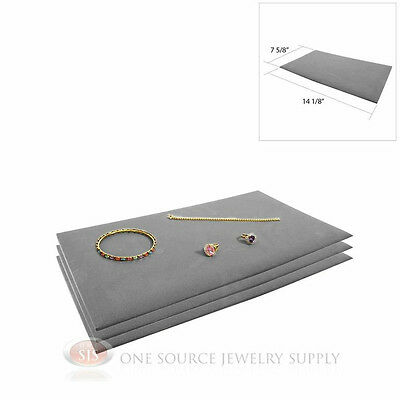 3 Gray Tray Liners Plush Soft Velvet Jewelry Display Counter Display Pads