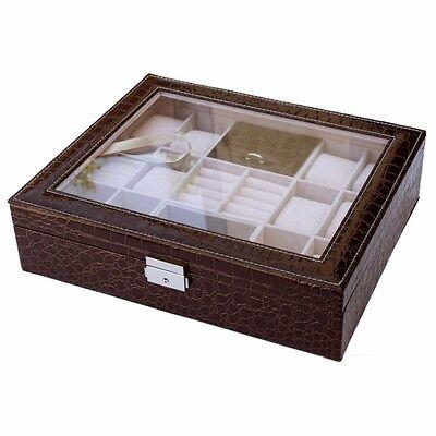 12 Slot Leather Watch Box  Case Organizer Glass Ring  Jewelry Storage -