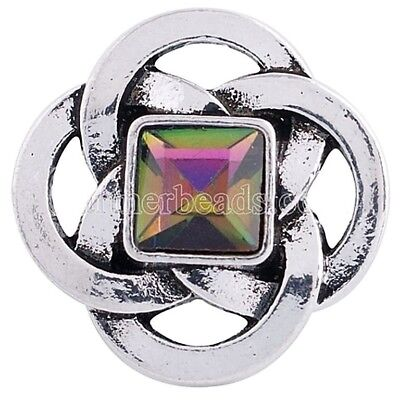 Silver Square Green Pink Rhinestone 20mm Snap Charm Jewelry For Ginger Snaps