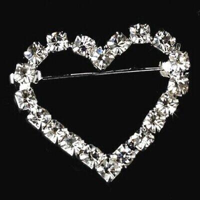 Crystal Rhinestone Heart Brooch Silver Setting Pin Petite Love Jewelry Gift Crystal Heart Pin