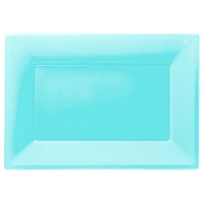 Baby Blue Plastic Serving Platters Tray Party Buffet Food Celebration Wedding - Plastic Party Platters
