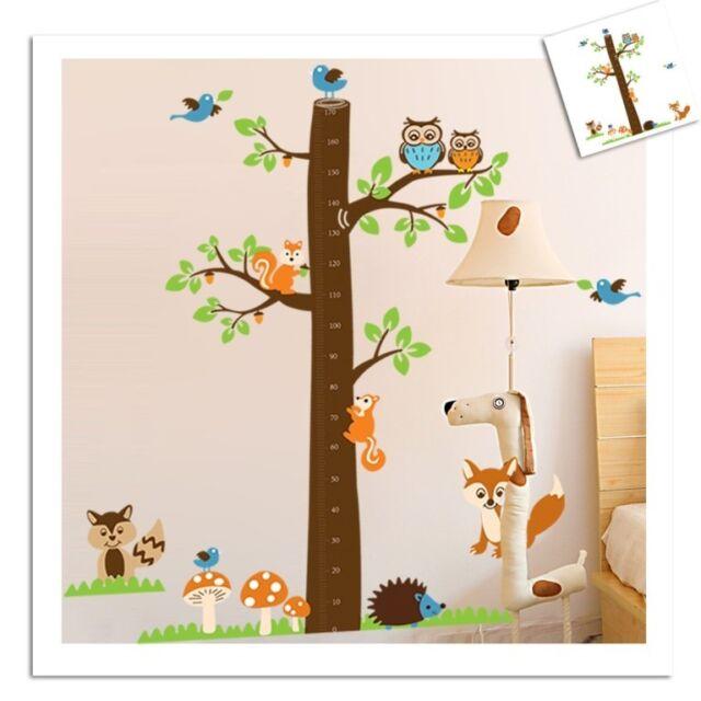 Squirrel Owl Fox Birds Tree Height Chart Measurment Kid Wall Decal Vinyl Sticker