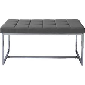 Corliving LDF-262-O Huntington Modern Grey Leatherette Wide Bench with Chrome Base (New other)