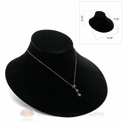 Black Velvet Lay-down Pendant Necklace Neckform Jewelry Bust 8 18w X 7 12d
