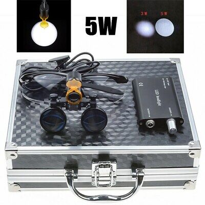 3.5x Dental Binocular Loupes 5w Led Headlight With Filter Aluminum Box Black