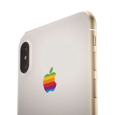 Retro Rainbow Apple Decal Sticker for iPhone X, iPhone 8 Plus, iPhone 7 Plus