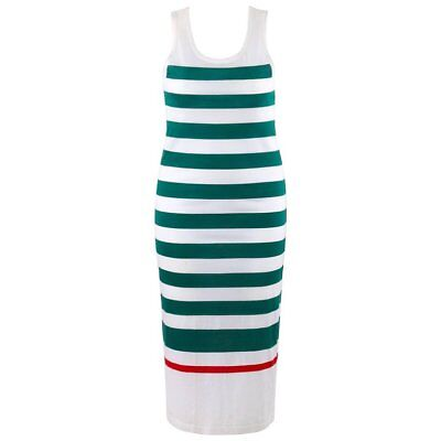 GUCCI c.1980's White & Green Striped Knit Sleeveless Maxi Tank Dress