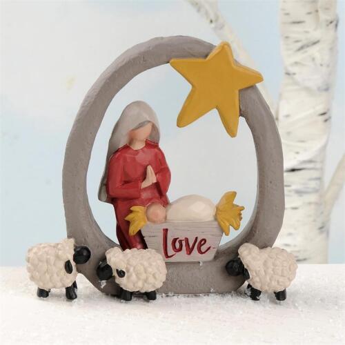 Mary Baby Jesus Sheep Love Star Blossom Bucket Christmas Figurine Resin