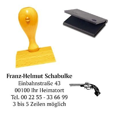 Adressenstempel « HISTORISCHE PISTOLE » mit Kissen - Firmenstempel Waffensammler